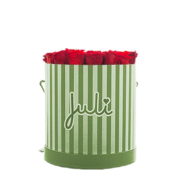 Rosenbox von Juli Flowers Infinity Rosen in Größe: rot Small grün/weiß rund - mindestens 1 bis 3 Jahre haltbare Rosen