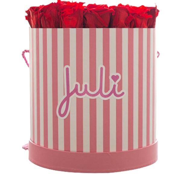 Rosenbox von Juli Flowers Infinity Rosen in Größe: rot Large rosa/weiß / Rund mindestens 1 bis 3 Jahre haltbare Rosen