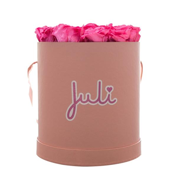 Rosenbox von Juli Flowers Infinity Rosen in Größe: pink Medium rosa rund - mindestens 1 bis 3 Jahre haltbare Rosen