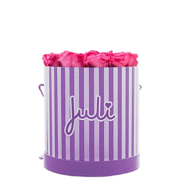 Rosenbox von Juli Flowers Infinity Rosen in Größe: pink Small lila/weiß rund - mindestens 1 bis 3 Jahre haltbare Rosen