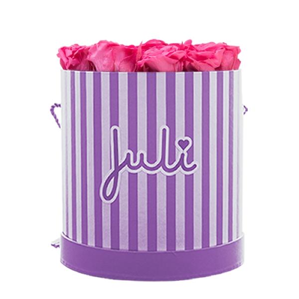Rosenbox von Juli Flowers Infinity Rosen in Größe: pink Medium lila/weiß rund - mindestens 1 bis 3 Jahre haltbare Rosen